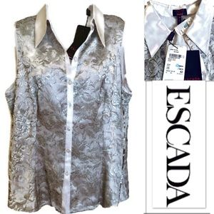Silver Escada Top SILK Lace Neiman Marcus HOST PIC